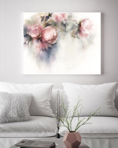 Pink Peonies Whimsical Fine Art Print, Flowers Botanical Pale Colors Watercolor Print, loose style flowers painting art, floral wall print - My CMS Watercolor Print, Watercolor Flowers, Watercolor Paintings, Original Paintings, Original Artwork, Art Paintings, Wall Prints, Painting Prints, Fine Art Prints