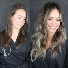 Aug 2019 - Ash blonde in brunette hair can actually happen. Especially when working with an experienced color & extension artist. Red Balayage Hair, Red Blonde Hair, Balayage Brunette, Ash Blonde Balayage Short, Blonde Brunette, Ash Blonde Highlights, Chunky Highlights, Caramel Highlights, Color Highlights