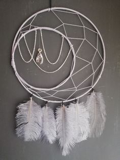 Lilac/grey Dreamcatcher with silverchains and crystal Lilac Grey, Dreamcatchers, Etsy Seller, Crystals, Unique, Creative, Handmade, Painting, Dream Catchers