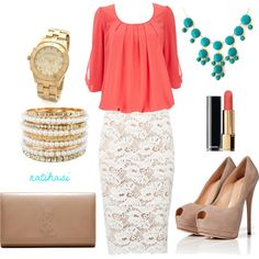 """""""Lace Skirt Spring Summer Outfit"""" by natihasi on Polyvore"""
