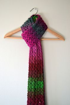 Isar scarf - use Red Heart Boutique Unforgettable or Lion Brand Amazing yarn One skein