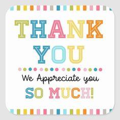 Thank you appreciation square sticker | Zazzle.com