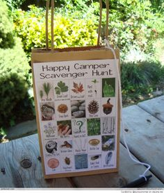 Camp theme.  This can easily be scaled down for preschool children.  Great for your nature walk.