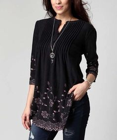 Another great find on #zulily! Charcoal Floral Notch Neck Pin Tuck Tunic - Plus by Reborn Collection #zulilyfinds
