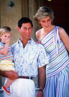 August, 1986:  Prince Charles, Princess Diana, Prince Harry & Prince William (not shown) at the Marivent Palace in Majorca, Spain.