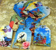 Birds Collage style gift tags set of 12 ships by ThePerfectJewel4u, $5.80