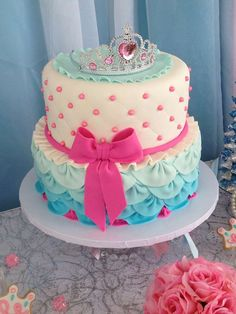 Gorgeous cake at a Cinderella birthday party! See more party planning ideas at CatchMyParty.com!