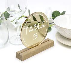 Gold Round Table Number - Acrylic with Timber Base - Printed Wedding Table Decoration - Cafe Restaurant Gold Table Numbers, Wedding Table Numbers, Gold Number, Wedding Tables, Acrylic Table, Gold Wedding Theme, Wedding Decorations, Table Decorations, Guest Book Sign