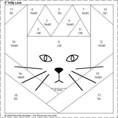 Kitty Love Heart Free Paper Piecing Quilt Block Pattern