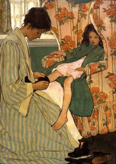 Jessie Willcox Smith - A Mothers Days - 'Morning' 1902 A Mothers Days series Scribners magazine, Dec. 1902 Jessie Willcox Smith [American Famous for her illustrations in magazines and childrens books. Carl Larsson, Jessie Willcox Smith, Mary Cassatt, Children's Book Illustration, American Illustration, Mother And Child, Vintage Art, Vintage Ephemera, Illustrators