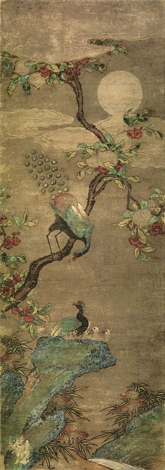 "Peacocks in Peach Tree under Moonlight.  Artist/maker unknown.   Made in Korea,    Joseon Dynasty (1392-1910).  Date: 19th century. ""It is extremely rare to see birds portrayed with their young, which is believed to convey the wish for many offspring. Such symbolism is further supported by the inclusion of the moon and sun, a pairing that represents the harmony of Asian cosmic energy, yin and yang, dark and light, female and male."""