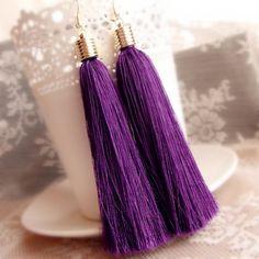 Fashion Ethnic Dangle Earring Purple vintage Tassel Drop Earrings for Women Gold Plated Cotton Fringes Big Long Earring Jewelry