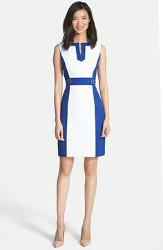 Tahari Colorblock Cotton Sheath Dress (Petite) available at #Nordstrom