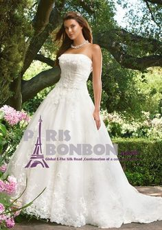 Ball Gown Strapless Chapel Train in Satin Tulle Wedding Dress
