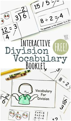 Do your students struggle with all the math specific vocabulary terms related to division? It's a mouthful! This fun, interactive division vocabulary booklet will help kids learn the terms, and give them a handy reference to go back to later. Math Vocabulary, Maths, Math Classroom, Classroom Ideas, Homeschool Math, Homeschooling, Curriculum, 3rd Grade Math, Third Grade