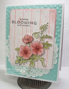 Card made using the color challenge this week. used my fave stamp, the SU Sweetbriar Rose, water colored using Cajun Craze and Old Olive ink (the dessert option). A really fun color combo Vicki! Flower Patch, Scrapbooking, Tampons, Copics, Card Tags, Flower Cards, Cute Cards, Greeting Cards Handmade, Homemade Cards