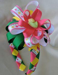 Girls Tulip Flower Ribbon Woven Headband with by AdelaidDesigns