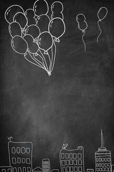 Balloon Over City Black and White Printed posable Backdrop - 8192 – Backdrop Outlet Chalkboard Drawings, Chalkboard Designs, Chalk Drawings, Chalkboard Art, Black Background Wallpaper, New Background Images, Chalkboard Background, Foto Baby, Background For Photography