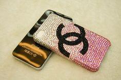 Coco Chanel Swarovski Crystal iPhone 5 Case Pink - Black C
