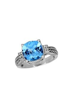 Balissima Diamond and Blue Topaz Ring, 5.05 TCW