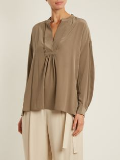 Vince Long-sleeved sandwashed silk-crepe blouse at MATCHESFASHION.COM
