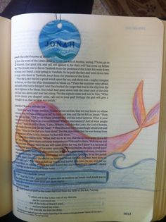 Jonah with whale art in Journaling Bible