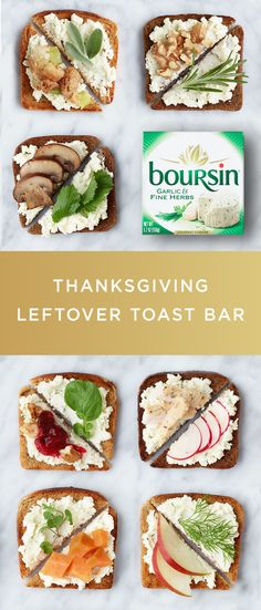 Having too many leftovers calls for a post-Thanksgiving soirée. And a Thanksgiving leftover toast bar is the perfect way to give your guests an unforgettable appetizer experience. Simply lay out some fresh toast, your delicious leftovers, and your favorite flavor of Boursin cheese. Party-goers will love reliving Thanksgiving by creating their own culinary masterpieces.