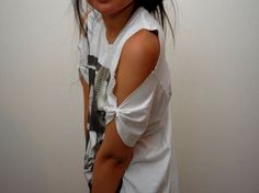 studs and pearls: glamour kills diy: Cut Out Shoulder T-Shirt