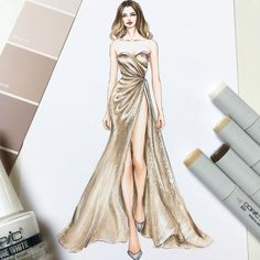 with ・・・ Ralph & Russo Haute Couture Spring Summer Dress Design Drawing, Dress Design Sketches, Fashion Design Sketchbook, Dress Drawing, Fashion Design Drawings, Art Sketchbook, Drawing Drawing, Drawing Tips, Fashion Model Sketch
