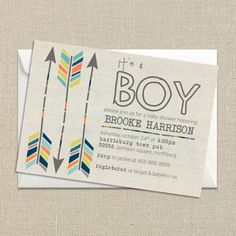 Baby Boy Shower Invitation - Fall Colors - Tribal Aztec and Arrows - Digital Printable File