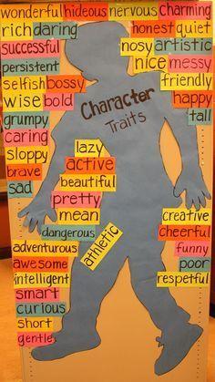 Bulletin board that lists character traits.