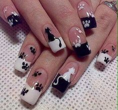 Get ready for some manicure magic as we bring you the hottest nail designs from celebrities, beauty brands and the catwalks Frensh Nails, French Manicure Nails, Cat Nails, Manicure Ideas, Cat Nail Art, Animal Nail Art, Paw Print Nails, Cute Nail Designs, Stylish Nails