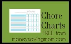 Chore Charts: Your choice of 5 day or 7 day with various color schemes.