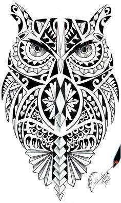 36 best Maori Owl Tattoo Designs Shoulder images on . Maori Tattoos, Samoan Tattoo, Leg Tattoos, Body Art Tattoos, Tribal Tattoos, Cool Tattoos, Tatoos, Polynesian Tattoos, Buho Tattoo