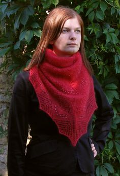 Red knit silk-mohair shawl. Beaded shawlette. Triangular lace scarf - pinned by pin4etsy.com