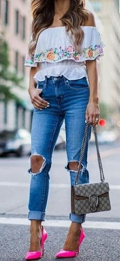 #summer #street #style | Embroidery + Neon