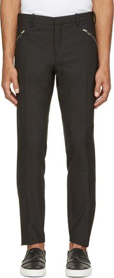 Neil Barrett - Black Wool Zip Pocket Trousers
