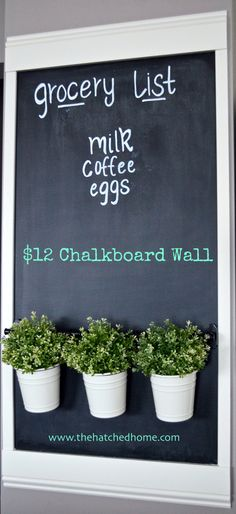 Kitchen Chalkboard Wall - The Hatched Home Wall art, shopping list and herb garden all in one!