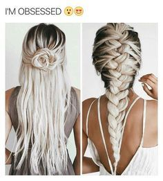 Love this colour! Bleach 'white' blonde with long dark roots! it looks amazing <3 As soon as I grow out my hair I'm doing this!