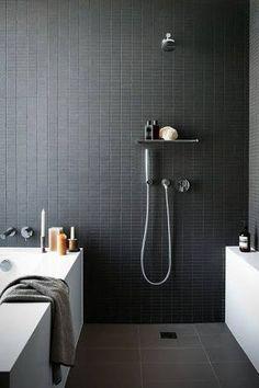 matt black splashback bathroom - Google Search