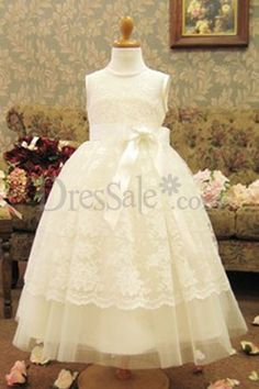 Beauteous Puffy Flower Girl Dress with Exquisite Lace Wrapping  $63.99