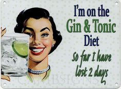 I'M ON THE GIN AND TONIC DIET Metall blechschild nostalgie 200mm X 150mm