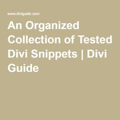 An Organized Collection of Tested Divi Snippets   Divi Guide #divi