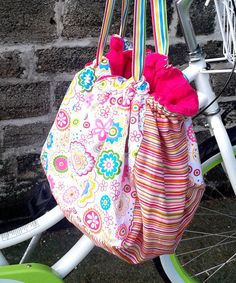 Bicycle Basket Liner Tote Bag by GypSeaBlueBags on Etsy, $28.00