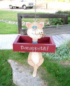 Cat Bird Feeder Tole Painted Wood