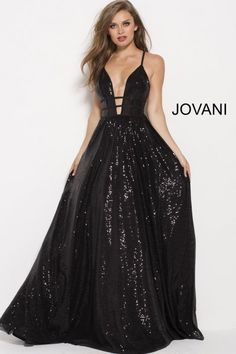 6215781f20f Style 51805 from Jovani is a plunging neck sequin gown with spaghetti  straps and side cutouts.