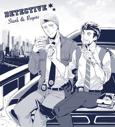 j000000:  Stony in detective AU. Draw for my friend as a guest for her stony super family fanbook :)
