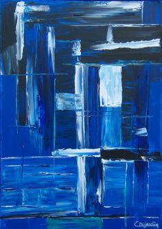 TABLEAU PEINTURE Abstrait Bleu Abstrait Acrylique  - AU FOND DE L'OCEAN                                                                                                                                                                                 Plus