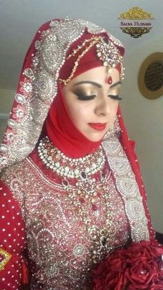 Latest Bridal Hijab Styles Dresses Designs Collection consists of Asian, desi fashion & Arabic fancy hijab dresses, gowns and frocks, maxis, etc Pakistani Wedding Outfits, Muslim Wedding Dresses, Indian Bridal Outfits, Muslim Brides, Bridal Dresses, Muslim Girls, Party Dresses, Bridal Hijab Styles, Bridal Style