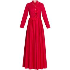 Vivetta Filippa Long Dress ($375) ❤ liked on Polyvore featuring dresses, gowns, red, red ball gown, long sleeve evening dresses, long sleeve dress, red dress and long evening gowns